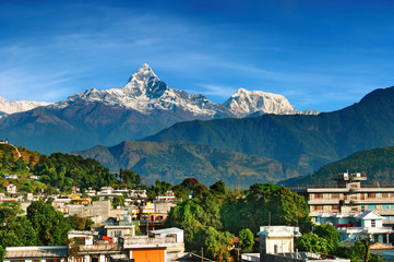Poster Nepal City of Pokhara and mount Machhapuchhre, Nepal