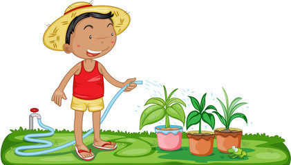 A Boy Watering Plants