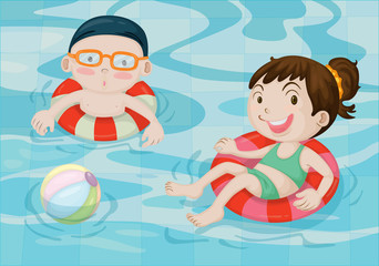 Boy and Girl in Swimming Pool