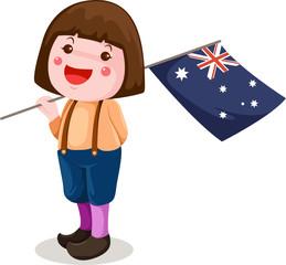 cute girl holding  Australian flag