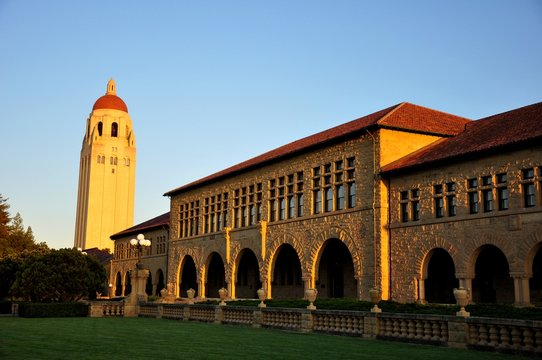 Sunset - Wallenberg and Hoover Tower, Stanford University