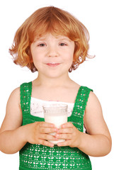 beauty little girl with glass of milk