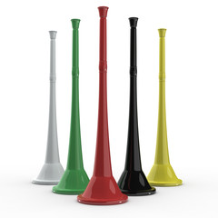 five colored vuvuzela horns