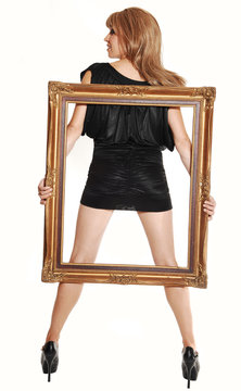 Standing girl with frame.