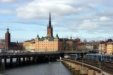 view of stockholm with townhall and riddarkyrkan