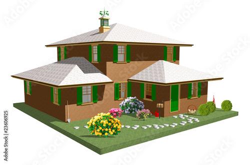 Casa con giardino home with garden 3d 3 immagini e for Giardino 3d gratis italiano