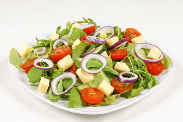 Fresh mixed salad with cheese