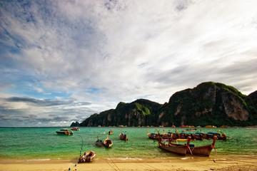Thai boats near the beach. Phi Phi island. Thailand
