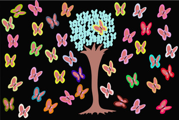 Tree with butterfly on black background