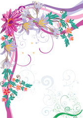 floral corner with pink lotus