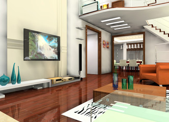 a living room in the villa