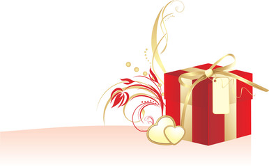 Decorative red box and golden hearts with ornament. Vector