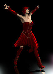 Realistic 3D woman in red dress