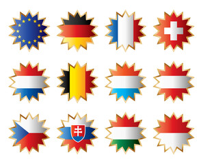 Star flags Central Europe. Separated layers with country name.