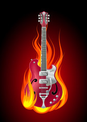 Poster Vlam Rock guitar in flames