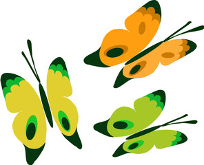 three colorful Butterflies vector icon set