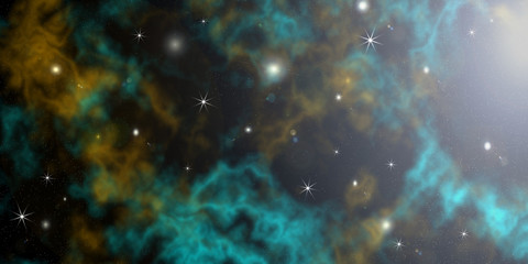 Colour nebula in outer spaces
