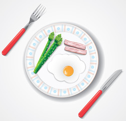 fried egg, bacon and green asparagus browses