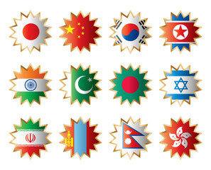 Star flags Asia. Separated layers with country name.
