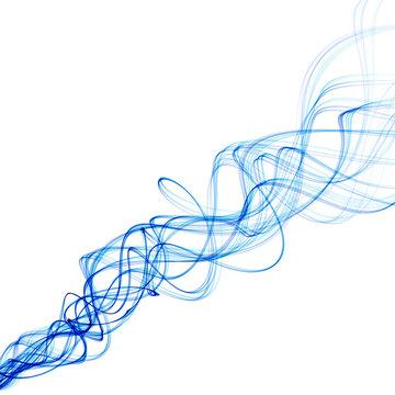 Smoke like blue wavey lines