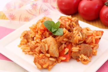 Gulasch mit Reis
