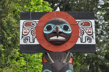 Totem Pole in Stanley Park in Vancouver, Canada