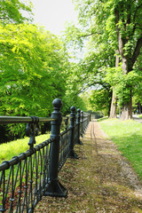 Old iron fence in castle garden