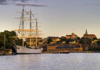 Vintage ship in evening sun.