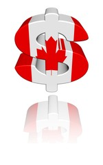 Canada dollar symbol with flag reflected illustration