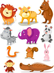 Poster de jardin Zoo wild animals set