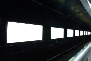 frames on  wall at night in city