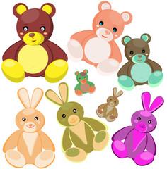 Multi-coloured soft toys