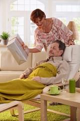 Elderly man getting present