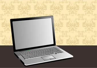 Stylish illustration of a laptop and vintage background