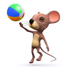 3d Mouse plays beach ball