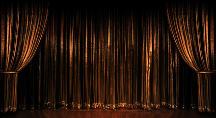 Wall Mural - Golden Curtains