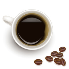 Cup of coffee with coffee grains. Photo-realistic vector.