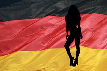 Pinup Girl mit Deutschlandfahne