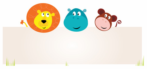 Cute three safari animals holding blank sign. VECTOR