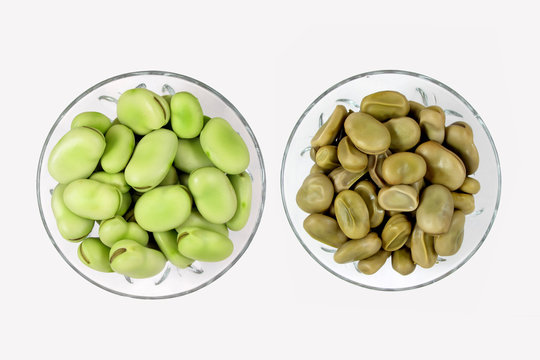 Raw and cooked broad beans