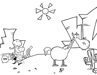 Outlined Cowboy Escapes To His Horse