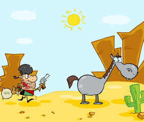 Aluminium Prints Wild West Cowboy Escapes To His Horse