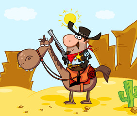 Western Sheriff On Horseback In Front Western Landscape