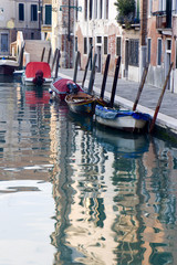 Venice - canal boats and houses