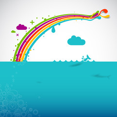 Poster Regenboog Rainbow over the ocean