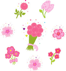 Set of icons with flowers