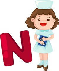 alphabet N with nurse