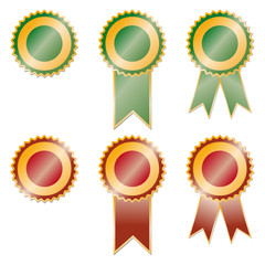 Set of red and green award ribbons