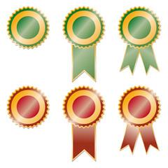 Set of red and green award ribbons