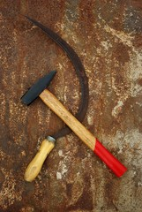 The soviet symbol sickle and hammer